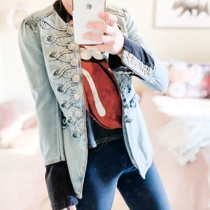 Free People Denim Seamed And Structured Jacket XS